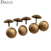 50Pcs/lot Antique Brass Upholstery Nail Decorative Upholstery Tacks Stud Wooden Box Case Furniture Nails Pushpin Doornail 9x6mm(China)