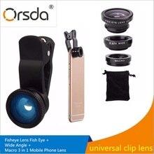 Orsda 180 Degree Fisheye fish eye Lens 0.67x Wide Angle lenses 10x Macro 3 1 Universal Clip Smartphone lens kit iphone 8