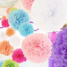 "1set 6"" 8"" 10""(15cm 20cm 25cm) Paper PomPoms Tissue Flower Balls decorative flower for Wedding party home Decoration(China)"