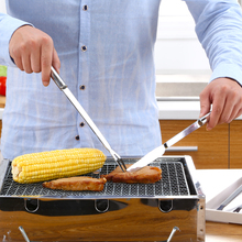 New Kitchen 2PCS Barbecue Steak Knife Meat Fork Long Handle Picnic Beef Serving Forks Knives Set Grill Accessories BBQ Tool(China)