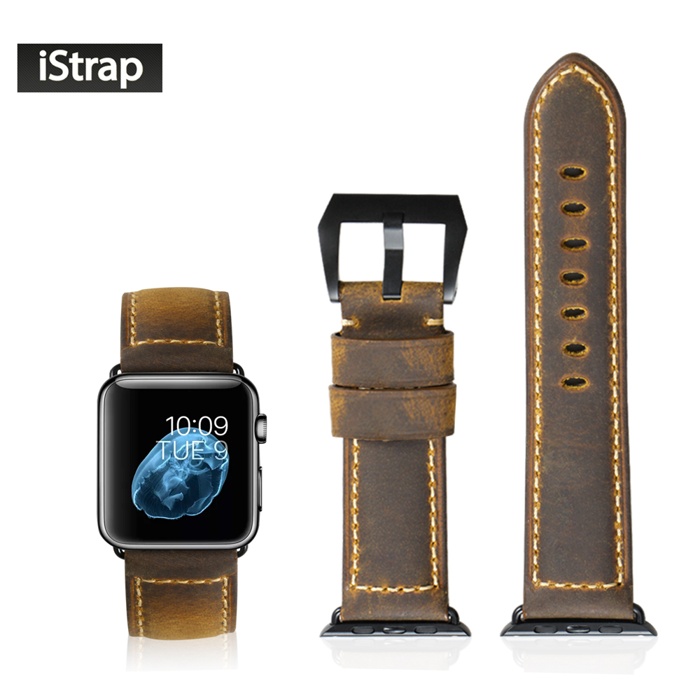 Handmade Assolutamente Leather Watch Band For Apple Watch 42mm Series 1 and 2  Black Tang buckle Adapter For iWatch 42mm Case<br>