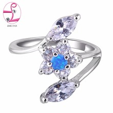 ZHE FAN Star Blue Pink White Fire Opal Ring Women AAA CZ Zirconia Fashion Rings For Female Party Jewelry Valentines Day Gifts