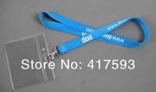 LOGO imprint silk screen polyester neck lanyard,custom cheap discount blue flat plain lanyard with white logo printed neck strap(China)