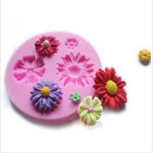 1PCSDIY Kitchen Accessories For Cakes Fondant Chocolates Soap Sun Flowers Shape Silicone Cake Mold Silicone Baking Tool(China)