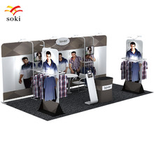 20ft*7.5ft High Quality Straight Tension Fabric Display Exhibition Booth with shelf +Display Rack +Stand Sign+Counter(NO TV)