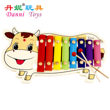 Candice guo! Danni toys cute cow cattle baby hand knocking musical toy child educational wooden xylophone 8 scales 1pc