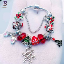 BAOPON 2017 New Fashion Snowflake Gloves Pendant Sliver Plated Red Bead Bracelets for Women Charm DIY jewelry BR246