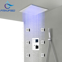 "Buy LED Shower Faucet 20"" Rainfall Shower Faucet Thermostatic Cartridge Valve 6 Pcs Massget Jet for $203.55 in AliExpress store"