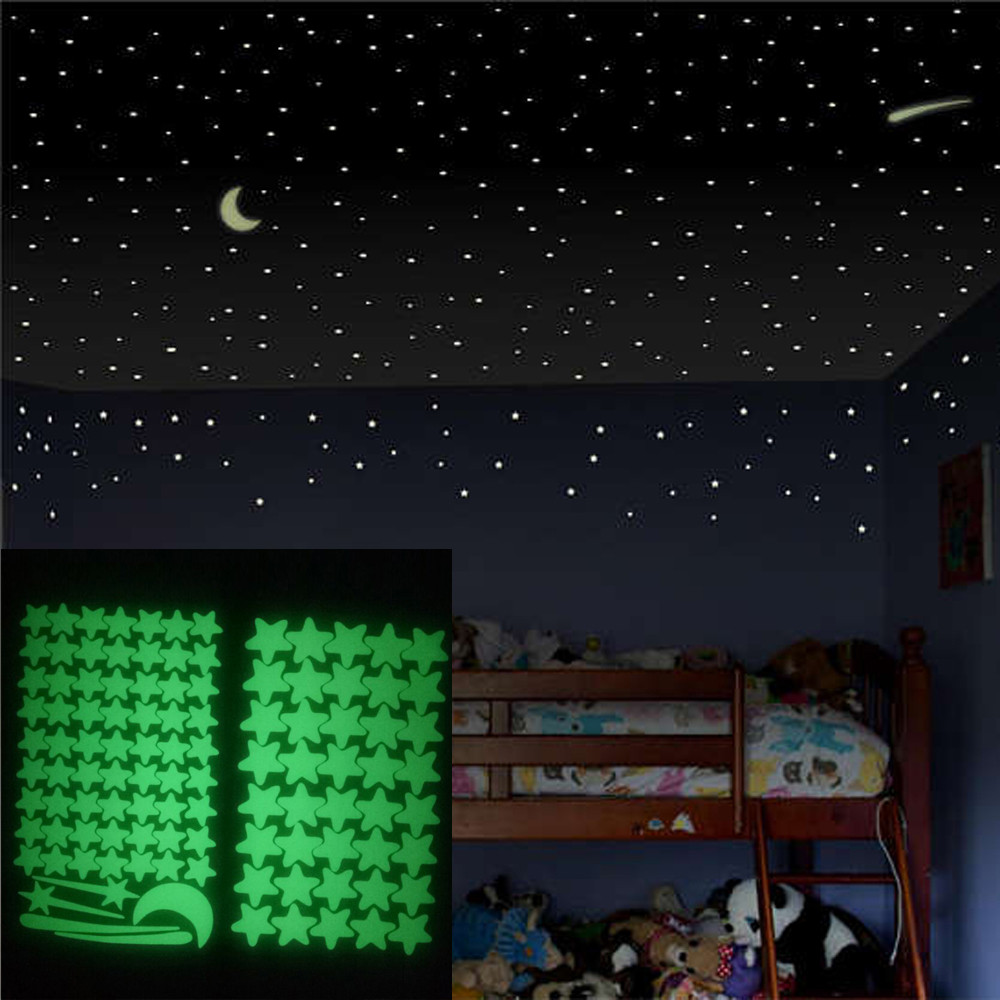 2 set 103 pcs Star Wall Stickers Glow In The Dark Star Wall Stickers 103Pcs Star Moon Luminous Kids Room Decor Wallpaper Poster(China)