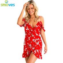 Colysmo Womens Deep V Neck Red Floral Frill Wrapped Dress Ruffled Short Butterfly Sleeve Bohemian Mini Dresses GD373(China)