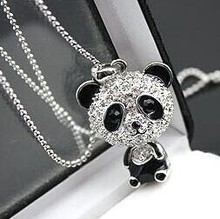 $10 (mix order) Free Shipping Imitation Crystal Sweater Chain Necklace Cute Female Panda Jewelry N001 10g(China)