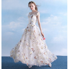 flower appliques butterfly print sheer dress o-neck string lace up open back a line summer beach dress woman sexy party dress