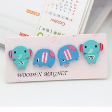 4pcs(1 set) 20x32mm Cute Cat Wooden Fridge Magnets for home decoration(has packing)(China)
