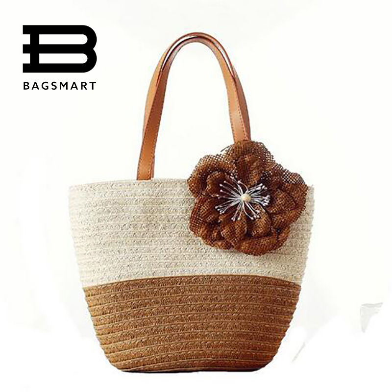 BAGSMART 2017 Women Casual Straw Handbag With Flower Girls Straw Bags Fashion Girls Handbags Women Beach Handbag Shoulder Bag<br><br>Aliexpress