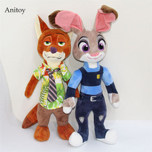 Cute Cartoon Zootopia Nick Fox Judy Rabbit Plush Soft Stuffed Plush Dolls Kids Christmas Gift 44 55cm AP0637(China)