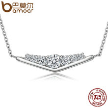 BAMOER Genuine 100% 925 Sterling Silver Triangle Shimmering CZ Pendant Necklace Women Authentic Sterling Silver Jewelry SCN130(China)