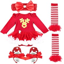XSG Newborn Baby Girl Christmas Cotton Clothes Headwear Long Sleeves Bodysuits Stocking Shoes Red Christmas Party Customs Set(China)
