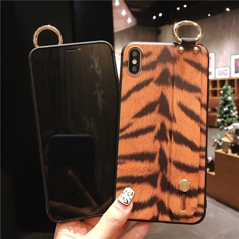 8 SoCouple Wrist Strap Phone Case For iphone X Xs max XR 6 6s 7 8 plus Leopard Print Tiger Skin Zebra Pattern Soft TPU Holder Case