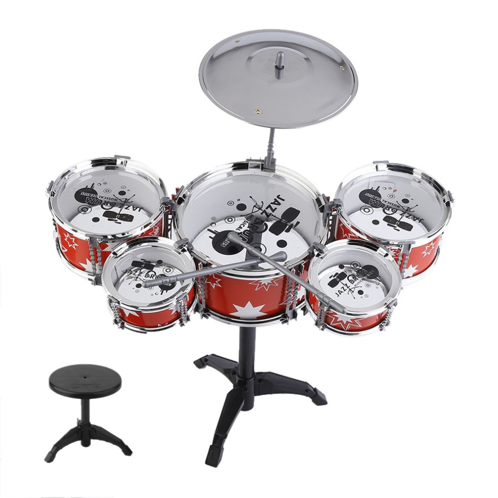 Plug Size Mini Children Kids Practicing Jazz Drum Drumsticks Musical Instrument Portable ABS Stainless Steel Drum Set With Chair(China)