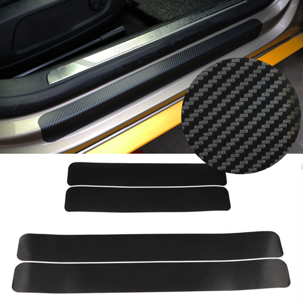 4pcs 3D Carbon Fiber Sticker Red Door Sill Sticker For Panel Protector