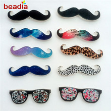 New Fashion Simple Style Star Creative Leopard Beard Eyeglasses Acrylic Brooch for Clothes Bags Pin on Decorative(China)
