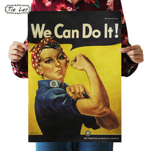 TIE LER We Can Do It Kraft Paper Adornment Movie Posters Vintage Poster Adornment Home Decoration Wall Stickers