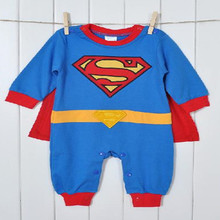 Fashion Long Sleeve Superman Romper with Dress Smock Baby Boy Girl One-Piece Animal Jumpsuits Infant Wear(China)