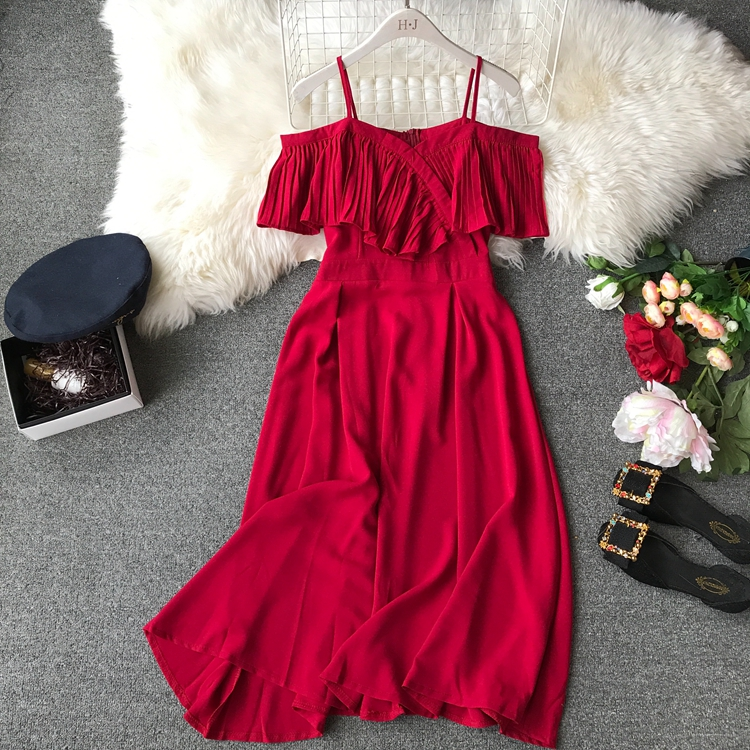 2019 Spring Women Chiffon Pleated Braces Sling Spaghetti Strap Goffer Long Dress Ladies Ruffles Empire Drapped Swing Slip Dress 178