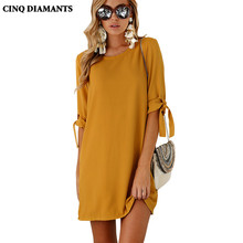 CINQ DIAMANTS Women Autumn Clothes Dress Vestidos Orange Casual Dresses Round Neck Elegant Dress Work Office Costume Robe Femme(China)