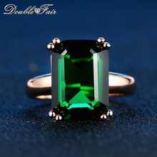 Double Fair Brand Green Crystal Ring Rose Gold Color Fashion Red/Green Big Crystal Red Crystal Wedding Jewelry For Women DFR700