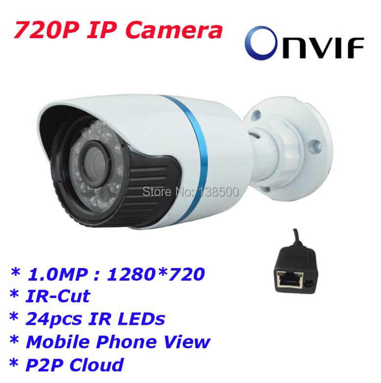 Free Shipping Wholesale ONVIF 1.0 MP Full HD 720P IP Network camera Small IR-Bullet IP Camera Outdoor 2pcs Packed<br><br>Aliexpress