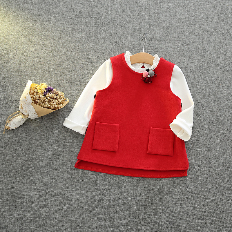 Kids Girl White ruffle Collar Blouse + Wool Vest Suits Princess Girl Clothes Long Sleeve tshirts tops red vest warm coat outfits<br><br>Aliexpress