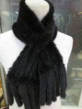 The latest fashion/ women real mink knitted fur Double tassel scarf/ black /brown/wine red/golden yellow/4color can choose(China)