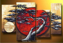 Abstract China Welcome Song Tree Oil Painting 100% Hand Painted 4 Panel Art Set Home Decor Modern Wall Picture For Living Room