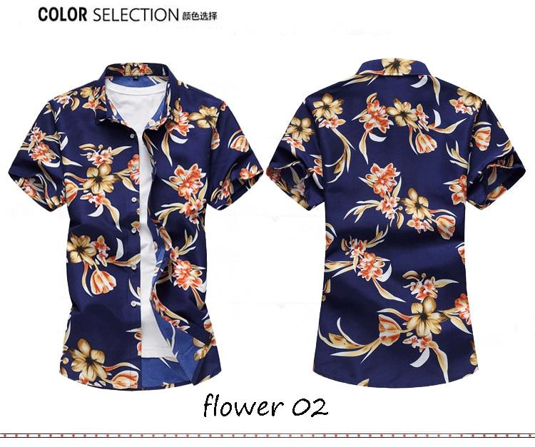 2018 Short Sleeve Mens Hawaiian Shirt Male Casual Camisa Masculina Flower Print Beach Summer Shirts Brand Clothing Men Plue Size 11