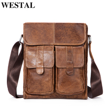 WESTAL Genuine Leather bag men bags Messenger Bags male small flap Vintage Leather shoulder crossbody bags for men Handbags 366