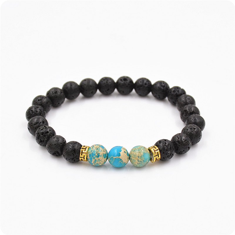 Blue emperors stone bracelet, natural energy volcan stone bracelet, Buddha beads bracelet jewelry