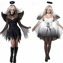 2017 Halloween Costumes For Women Fantasy Cosplay Party Fancy Dress Adult White Black Fallen Angel Costume With Angel Wings(China)