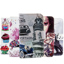 Painted Cartoon Stand Flip Cover Skin Pouch For HTC Desire SV T326e 1X High Quality Book Style PU Leather Case Phone Case