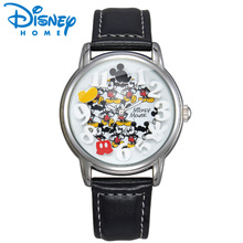 Disney Watch Mens Watches Top Brand Luxury Gold Black Leather Strap Quartz Mickey Mouse Watch Fashion Casual Relogio Masculino(China)