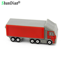 SHANDIAN Truck model Pen Drive 4GB 8GB 16GB 32GB lorry Usb Flash Drive Pendrive memory stick freight car gift U disk(China)