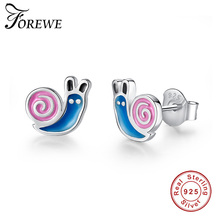 Buy FOREWE Lovely Candy Color Enamel Animal Snail Stud Earrings Accessories 925 Sterling Silver Earrings Women Girls Party Jewelry for $5.69 in AliExpress store