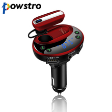 Powstro Doul USB car charger with 5 in 1 LCD Dispaly Bluetooth FM Transmitter car charger USB MP3 bluetooth handsfree car kit