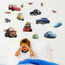 LP 2016 new free shipping Transparent Boy's Bedroom Pixar Cars Wall Stickers Kids Nursery Room Art Decal 3D Stickers