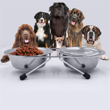 2 Quarts Stainless Steel Pet Dog Cat Double Dinner Pet Bowl With Dish Feeding Watering Supplies Dog cat Feeder(China)