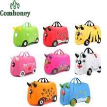 Child Zoo Animal Suitcase 3D ABS Cartoon Travel Luggage on Wheels Portable Kids Riding Bags of Trip Tote for Girls and Boys