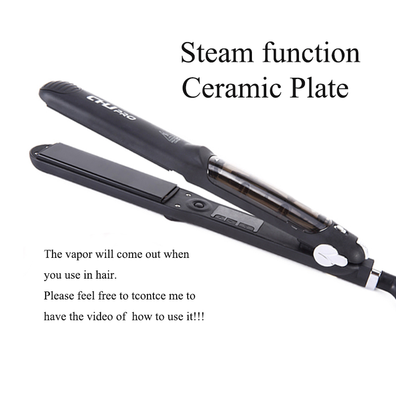 CHJ Steam Hair Straightener Ceramic Flat Iron Vapor Plate Wet/Dry Straightening Iron Ferro Hair Iron Steamer Styling Tool 3