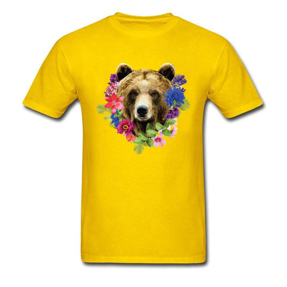 Floral Bearr Mens Fied Classic Tops T Shirt Round Collar Lovers Day Coon T-shirts Summer Short Sleeve Sweatshirts Floral Bearr yellow