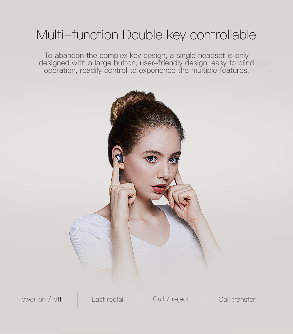 QCY Wireless bluetooth earphones business calls wireless headset 3D stereo earbuds with portable bag handsfree calls