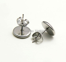 Blank Stainless Steel 316L Stud Earrings Bases with Round Bezel Cabochon stud Earrings post with Stopper Backs Settings Findings